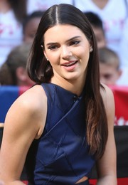 Kendall Jenner stuck to her usual straight center-parted style when she visited 'Good Morning America.'