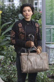 Kiersey Clemons carried an old gray messenger bag while filming 'The Only Living Boy in New York.'