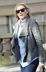 Kim Cattrall wore this draped luxe leather jacket while out in Scotland.