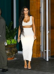 Kim Kardashian completed her head-turning attire with an ankle-length pencil skirt, also by Yeezy.