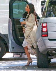 Kim Kardashian was boudoir-chic in a Morphew robe while grabbing lunch in Calabasas.