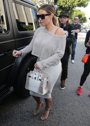 Kim Kardashian amped up the luxe factor with an Hermes Himalayan crocodile Birkin.