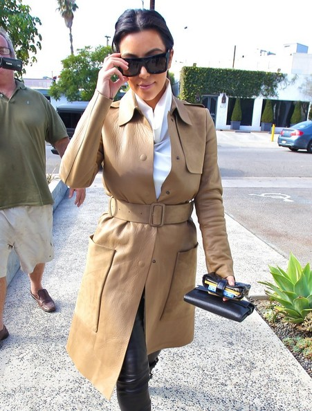 More Pics of Kim Kardashian Leather Coat (1 of 11) - Leather Coat Lookbook - StyleBistro