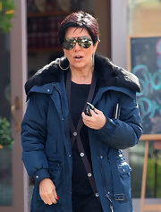 Kris Jenner did a little Christmas shopping in a pair of metallic oversize aviators.