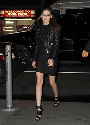 KStew embraced her signature edgy style in a quilted leather motorcycle jacket.