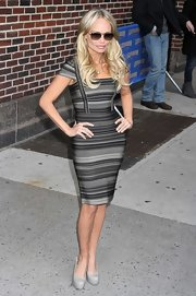 Kirstin Chenoweth wore this charcoal striped bandage dress for her appearance on 'David Letterman.'