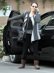 Kristin Davis kept it casual in sheepskin boots.