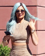 Kylie Jenner cut a cool figure on the streets of Beverly Hills with her Dior Technologic sunglasses and blue hair.