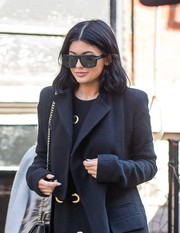 Kylie Jenner headed out in New York City rocking a pair of top-heavy sunglasses by Tom Ford.