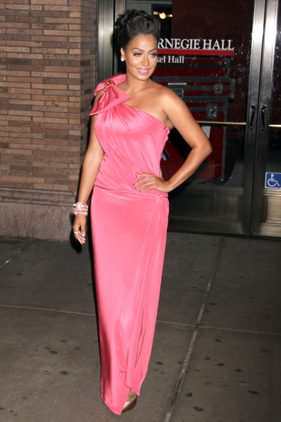 La La Anthony One Shoulder Dress