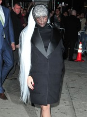 Lady Gaga looked a little creepy wearing this long white wig while arriving at the Roseland Ballroom.