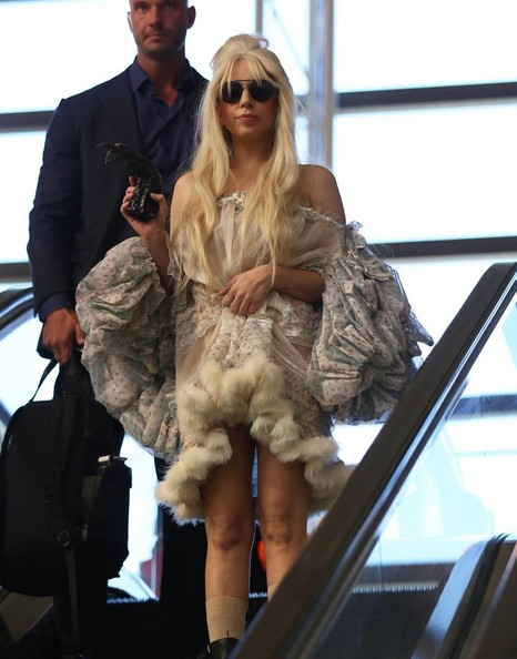 Lady Gaga Off-the-Shoulder Dress