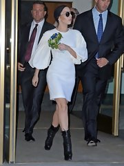 Lady Gaga stepped out looking quite lady-like in this puffy-sleeve white dress.