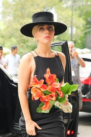 Lady Gaga cut a dramatic figure in her gaucho hat and black dress while out in New York City.