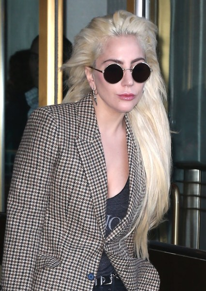 Lady Gaga wore her hair down in a layered style while out and about in New York City.