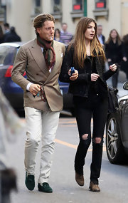 Lapo Elkann was all dressed up in a beige blazer, scarf, and tassel loafers for a stroll around Milan.