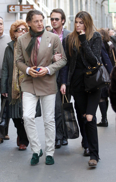 Lapo Elkann finished off his dressy strolling attire with a pair of green tassel loafers.
