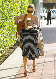 Lauren Conrad was spotted out and about town in brown platform sandals.