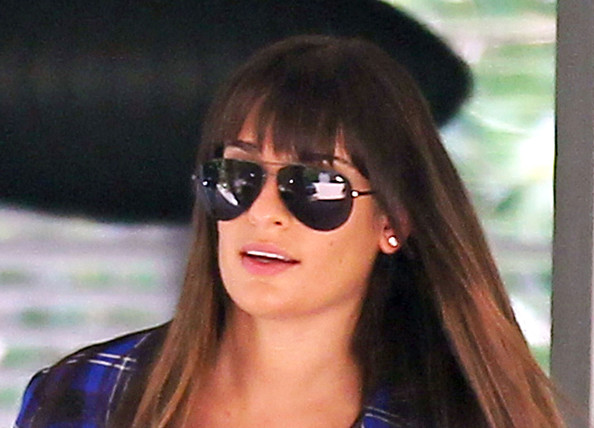 More Pics of Lea Michele Long Straight Cut with Bangs (1 of 8) - Lea Michele Lookbook - StyleBistro