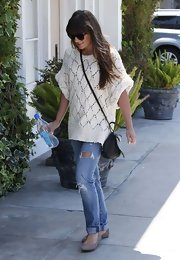 Lea Michele chose a crocheted sweater for her light and summery look.