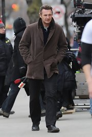 Liam Neeson sported a casual corduroy jacket for his film-set look while out in NYC.