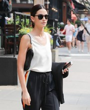 Lily Aldridge stepped out in New York City carrying a Christian Dior Mini Saddle, in black.