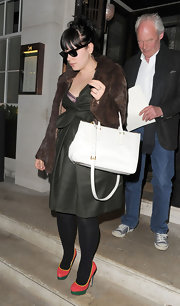 Lily Allen went out for dinner in London wearing a pair of multi-colored platform pumps.
