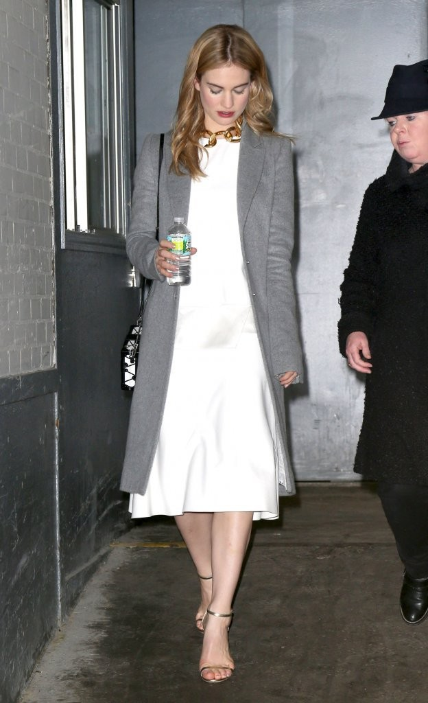 Lily James Wool Coat Lily James Looks Stylebistro