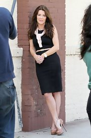 Lisa Vanderpump chose a basic black dress with a skinny belt as an accent for her look during an interview in California.