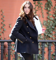 Liv looks perfectly pretty in a navy wool pea coat with gold buttons while out and about in NYC.