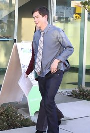 Logan Lerman kept it casual yet cool with a chambray button-down and jeans while promoting his new film.