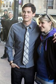 Logan Lerman dressed up his chambray shirt with a plaid tie while promoting his new film.
