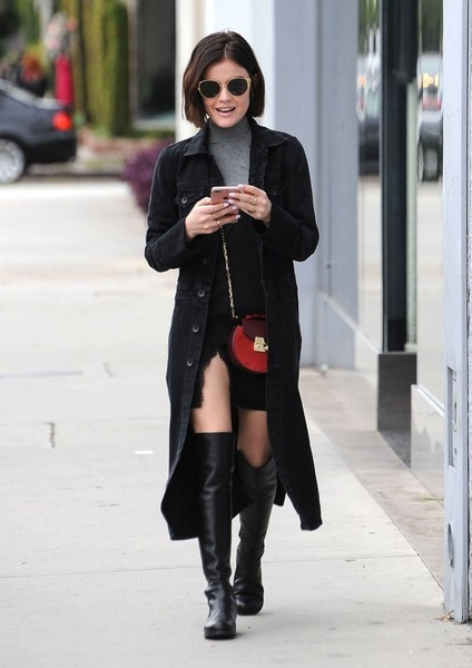 Lucy Hale Over the Knee Boots