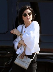 Lucy Hale ran errands in LA carrying a chic croc-embossed satchel by Elizabeth and James.