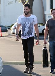 Maksim Chmerkovskiy was out and about in Los Angeles in a graphic T-shirt.