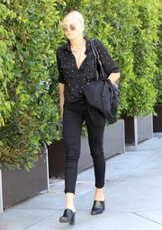 Malin Akerman kept it relaxed yet stylish in a black-and-white polka-dot shirt while shopping in Beverly Hills.