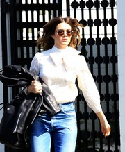 Mandy Moore shielded her eyes with a pair of round shades while running errands in Beverly Hills.
