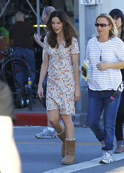 In between takes on the set of 'A Many Splintered Thing,' Michelle Monaghan kept cozy in a pair of soft sheepskin boots.