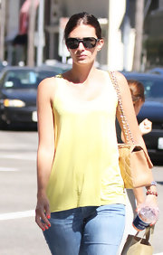 Rhea Durham was spotted out in Beverly Hills wearing a pair of jeans and a yellow tank top.