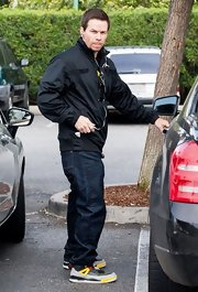 Mark Walhlberg looked cool as ever in this black zip-up jacket as he was spotted out in Hollywood.
