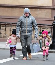 Matthew Broderick sported a pale blue puffer jacket while walking his daughters to school in NYC.