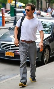 Matthew McConaughey kept it simple and classic with a white V-neck tee and gray jeans.