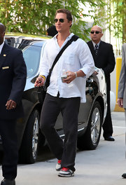 Gold aviators with a a cool white shirt always makes you look fresh.