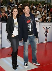 Jamie Kennedy paid homage to Michael Jackson in a statement tee paired with acid-washed faded blue jeans.
