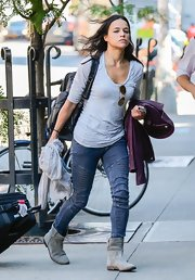 Michelle Rodriguez was out and about in New York looking comfy in flat boots, jeans, and a T-shirt.
