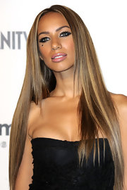 Looking as beautiful as always, Leona Lewis showcased her long highlighted locks.