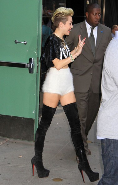 More Pics of Miley Cyrus Over the Knee Boots (1 of 7) - Over the Knee Boots Lookbook - StyleBistro