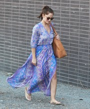 Minka Kelly walked the streets of Beverly Hills looking vibrant in this mixed-print maxi dress.