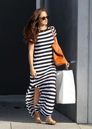 Minka Kelly looked effortlessly chic in this black and white striped maxi dress.