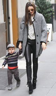 Miranda Kerr stepped out in New York City wearing a pair of black, buckled ankle boots.